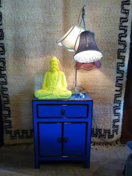 Petit buffet chinois laqu bleu buffets et commodes et for Meuble chinois bleu