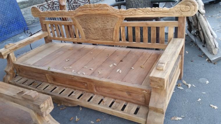 banc en teck table et banc de jardin en teck massif recycl granby banc de jardin en teck. Black Bedroom Furniture Sets. Home Design Ideas