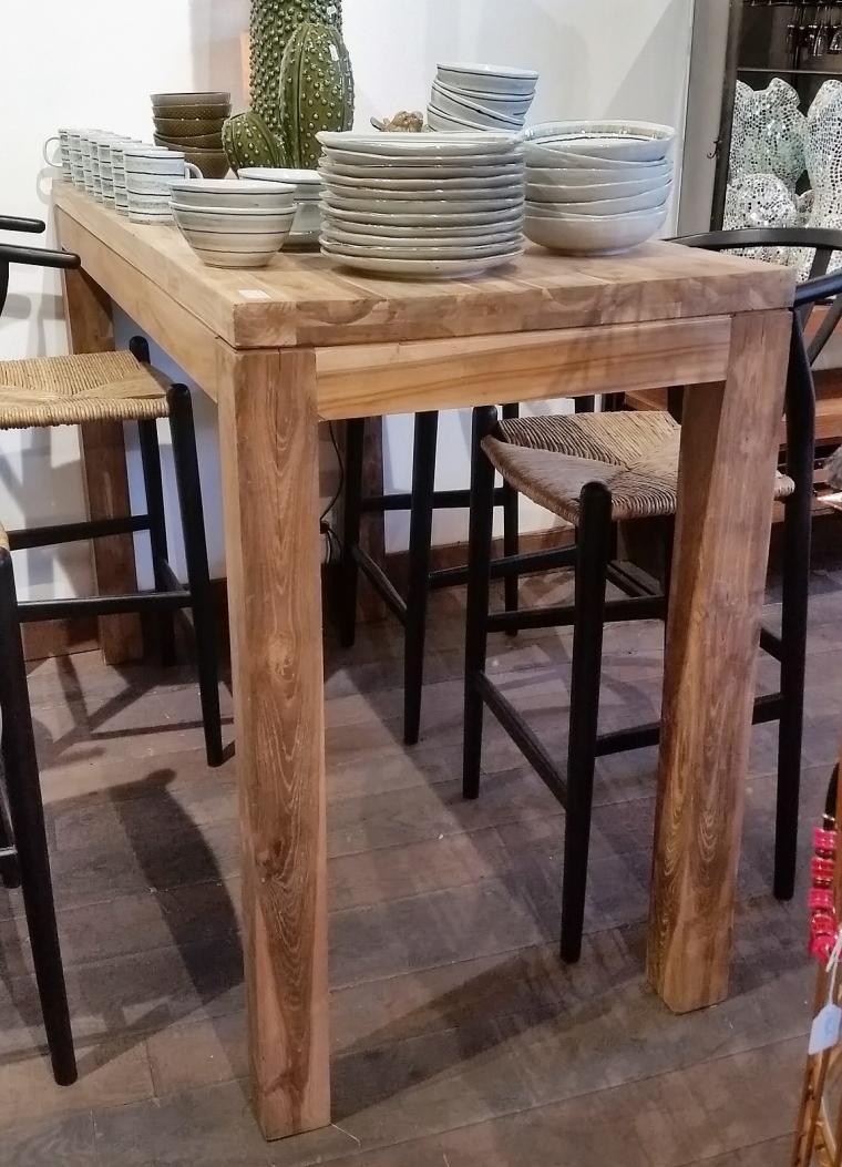 Table Haute En Teck Recyclé, Tables De Salle à Manger Et